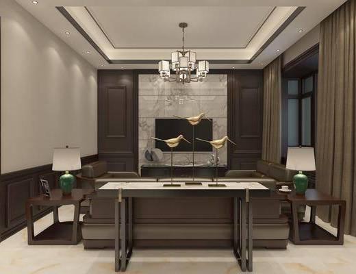客厅, 餐厅, 多人沙发, 边几, 台灯, 吊灯, 单人沙发, 双人沙发, 餐桌, 餐椅, 单人椅, 餐具, 装饰品, 陈设品, 新中式