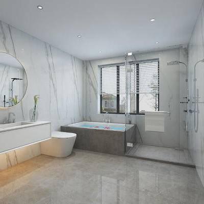 卫浴, 卫生间, 现代卫生间, 现代, 浴缸, 淋浴间, 花洒, 洗手台, 镜子