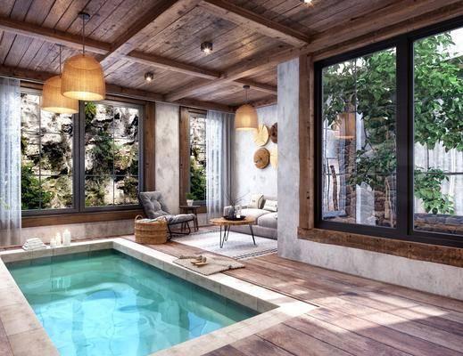 民宿温泉, 休闲区, 洽谈会客, 多人沙发, 茶几, 温泉, 吊灯, 水池, 单人椅, 墙饰, 美式