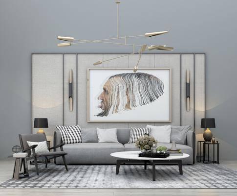 沙发组合, 多人沙发, 茶几, 边几, 台灯, 装饰画, 挂画, 单人椅, 吊灯, 摆件, 装饰品, 陈设品, 布艺沙发, 现代