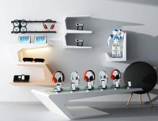 柜架组合, 展示柜, 耳机, 现代展示柜, 摆件, 现代