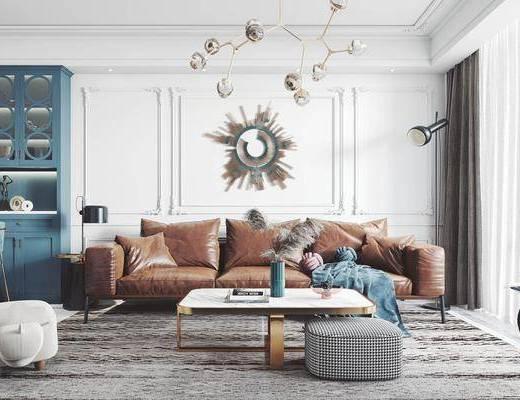 沙发组合, 茶几, 吊灯, 背景墙, 墙饰, 餐桌
