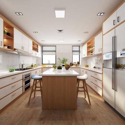 厨房, 开放式厨房, 北欧简约厨房, 现代, 厨具, 橱柜, 桌椅组合, 吧椅, 单椅, 摆件, 北欧