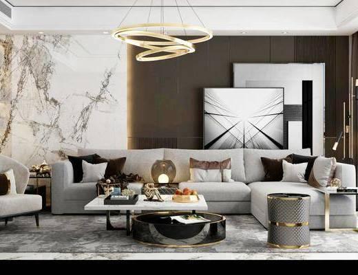 沙发组合, 茶几, 吊灯, 摆件组合, 单椅, 装饰画