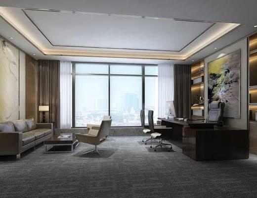 办公室, 桌椅, 办公桌椅, 经理室, 沙发组合, 椅子