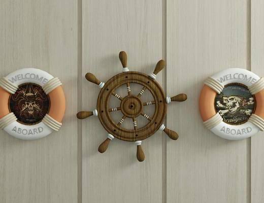 船舵, 救生圈, 墙饰, 地中海