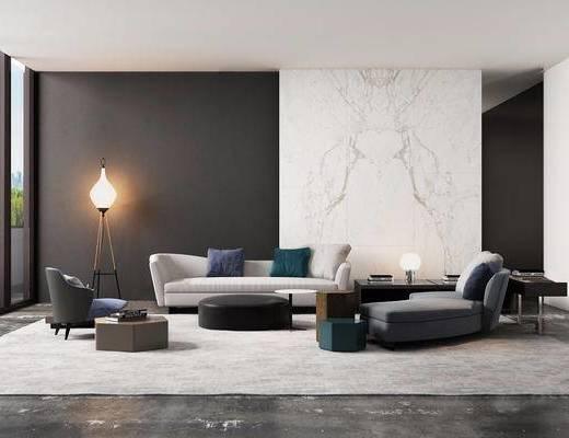 沙发组合, 落地灯, 单椅, 茶几