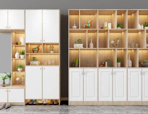 柜架组合, 现代柜架组合, 摆件组合, 装饰品, 植物, 绿植, 盆栽, 现代