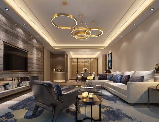 后现代客餐厅, 后现代, 客厅, 转角沙发, 金属吊灯, 椅子, 餐桌