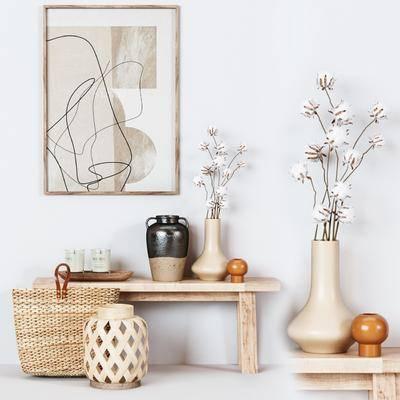 北欧, 花瓶, 装饰品, 挂画, 摆件