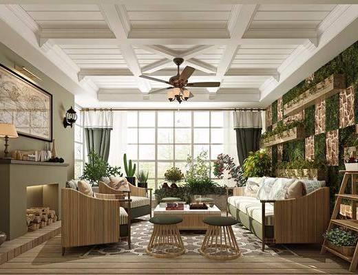 客厅, 会客厅, 美式, 田园