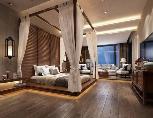 新中式酒店客房, 新中式客房, 新中式床具, 沙发茶几, 电视柜, 床头柜, 吊灯, 台灯, 置物架, 摆件