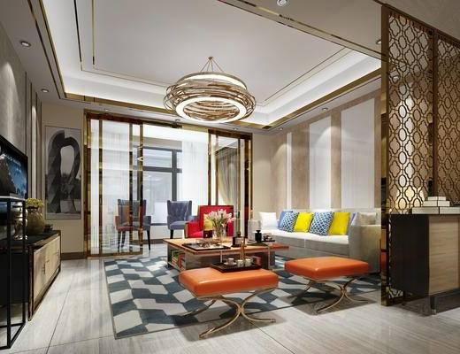 客厅, 新古典客厅, 新古典, 后现代, 金属, 吊灯, 沙发, 多人沙发, 单人沙发, 玄关柜, 边柜, 电视柜, 端景台, 陈设品
