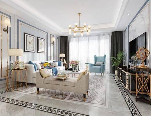 美式客厅, 美式吊灯, 美式沙发, 多人沙发, 沙发组合, 茶几, 边几, 台灯, 壁灯, 挂画, 装饰画, 电视柜, 单人沙发, 盆栽, 摆件