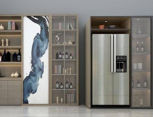 酒柜, 冰箱, 现代酒柜, 红酒, 摆件, 装饰品