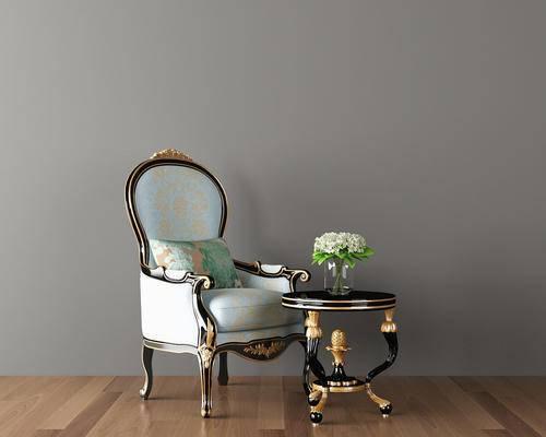 欧式单人椅, 欧式单人沙发, 茶几, 花瓶
