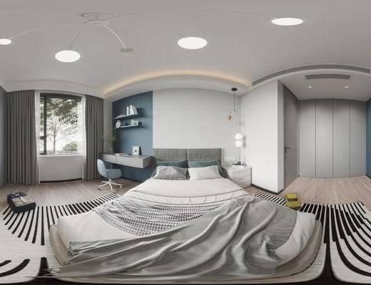现代, 卧室, 全景, 家装