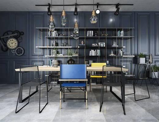 書房, 書架, 書桌, 桌椅組合, 柜架組合, 吊燈
