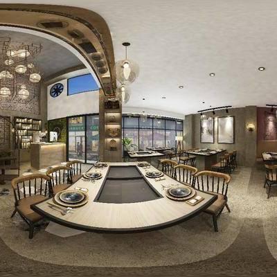 餐厅, 餐桌, 餐椅, 吊灯, 前台, 碟子, 楼梯, 现代