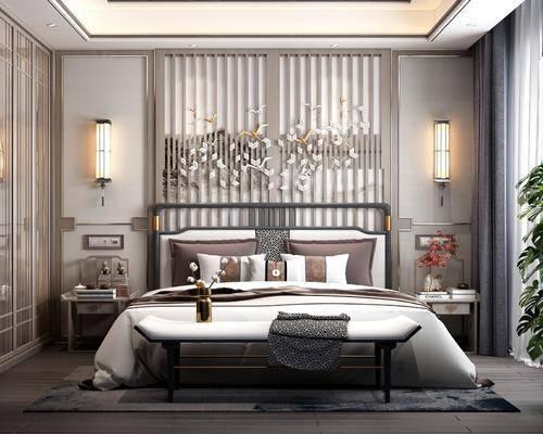 电视柜, 背景墙, 壁灯, 双人床, 床尾踏, 床头柜, 衣柜