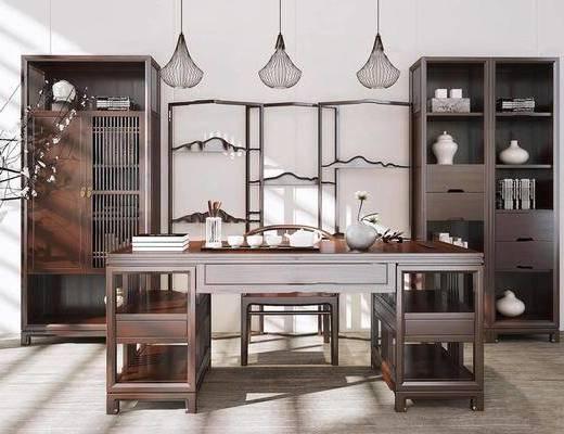 新中式, 书桌, 书柜, 陈设品组合