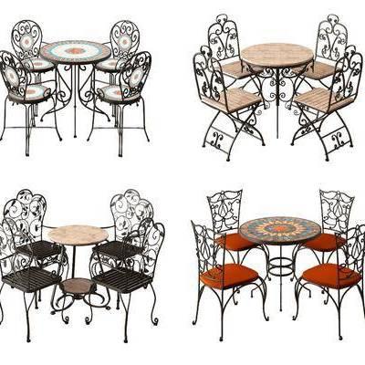 户外餐桌, 铁艺餐桌, 户外餐椅, 铁艺餐椅, 休闲桌椅