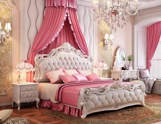 卧室, 双人床, 床头柜, 台灯, 壁灯, 吊灯, 化妆台, 凳子, 榻榻米, 摆件, 装饰品, 陈设品, 欧式