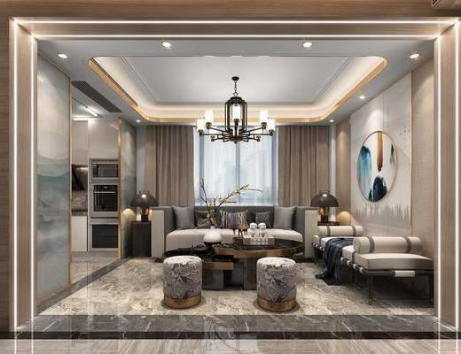 沙發組合, 墻飾, 吊燈, 茶幾, 擺件組合