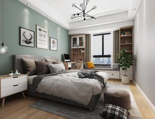 臥室, 床具組合, 裝飾柜, 吊燈, 桌椅組合, 擺件組合, 盆栽, 綠植植物, 北歐