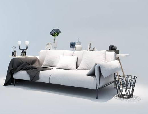 沙发组合, 多人沙发, 垃圾桶, 边几, 摆件, 装饰品, 陈设品, 台灯, 工业风