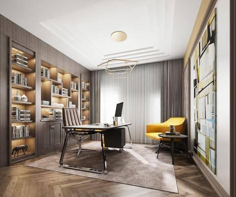 书房, 书桌, 单人椅, 办公桌, 办公椅, 单人沙发, 边几, 装饰柜, 书柜, 书籍, 吊灯, 装饰画, 挂画, 现代