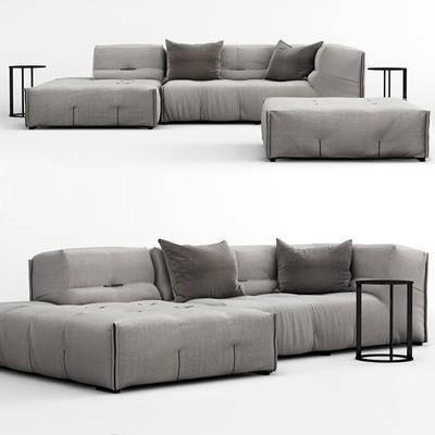 多人沙发, 转角沙发, 脚踏边几, 现代