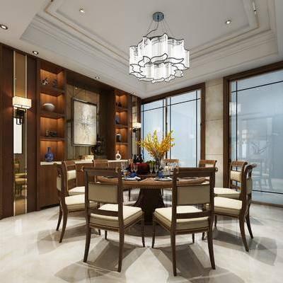 餐厅, 餐桌, 餐椅, 摆件, 装饰柜, 壁灯, 吊灯, 中式