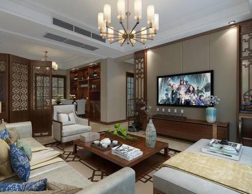 新中式客餐厅, 沙发茶几组合, 中式吊灯, 中式餐桌, 中式客厅, 客厅