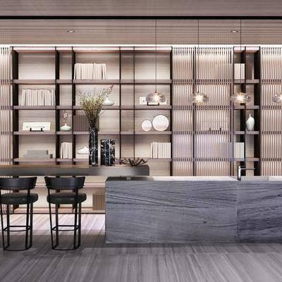 电视柜, 吧台, 吧椅, 现代, 摆件