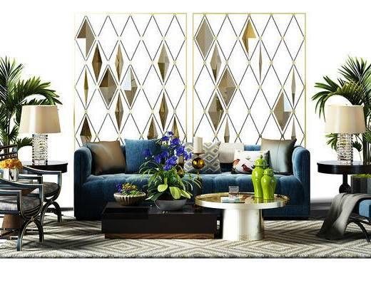 组合沙发, 隔断, 椅子, 凳子, 屏风, 盆景, 植物, 地毯