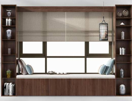 飄窗, 新中式飄窗, 擺件組合, 瓷器, 新中式飄窗3d模型