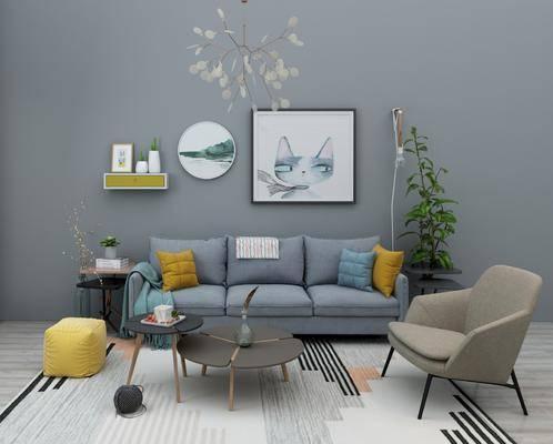 北欧布艺沙发组合, 多人沙发, 茶几, 单椅, 盆栽, 墙饰, 北欧
