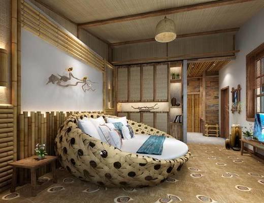 单人床, 客房, 吊灯, 电视, 浴缸