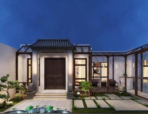 新中式花园, 庭院, 新中式, 户外建筑, 草地, 门口, 植物, 盆栽
