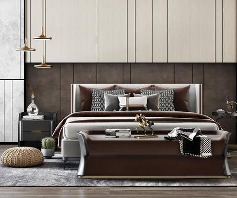 双人床, 床具组合, 吊灯, 床头柜, 摆件组合