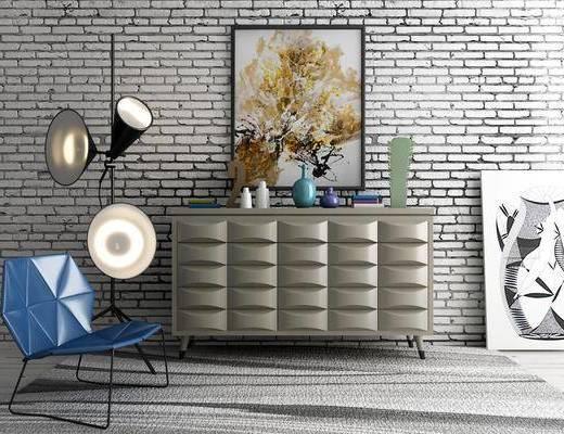 边柜, 装饰柜, 单人椅, 装饰画, 挂画, 落地灯, 摆件, 装饰品, 陈设品, 休闲椅, 北欧