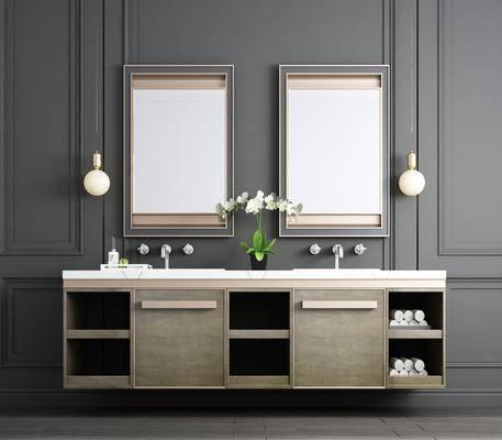洗手台, 吊灯, 装饰镜, 花瓶花卉, 新中式