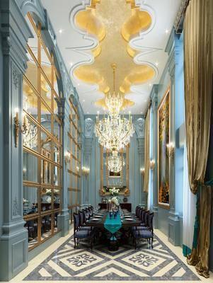 餐厅, 欧式餐厅, 桌椅组合, 雕花, 石膏线, 吊灯, 壁灯, 花瓶花卉, 餐具, 欧式