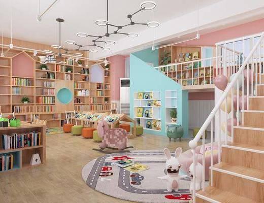 幼兒園, 圖畫室, 樓梯, 吊燈, 書柜