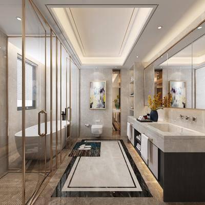 卫生间, 浴室, 浴缸, 洗手台, 装饰画, 挂画, 马桶, 摆件, 装饰品, 陈设品, 现代