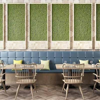 餐桌, 餐椅, 卡座, 植物墙, 北欧