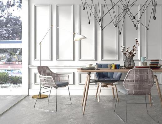 欧式简约, 餐桌椅组合, 落地灯, 花瓶
