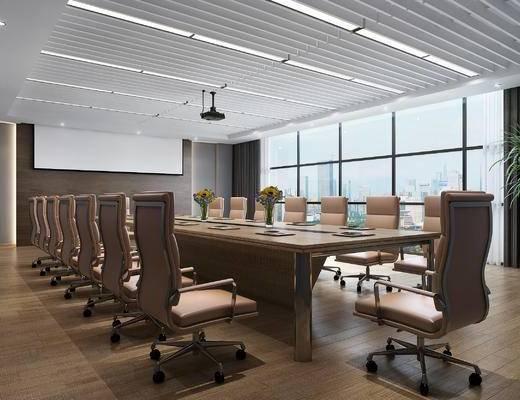现代会议室, 会议桌, 办公椅, 投影仪, 绿植, 花艺