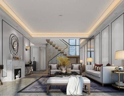 现代, 客厅, 多人沙发, 沙发凳, 单人沙发, 茶几, 边柜, 壁灯